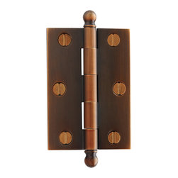 """Rejuvenation: Kitchen - 2-1/2"""" Ball-Tip Cabinet Hinges come in solid brass, with loose pins and slotted screws. They're an exact reproduction of traditional cabinet hinge styles.  Set of (2) $26.00."""