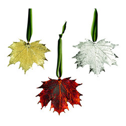 Real Sugar Maple Leaf Ornament - Real Sugar Maple Leaf Ornament, Set of 3, Dipped in 24k Gold, Iridescent Copper and Silver. Hand Made in USA.