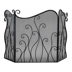 Bronze Scrolls Evalie Fireplace Fire Screen - *Evalie Fire Screen