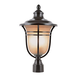 Trans Globe - Amber Drop Outdoor Post Top Lantern - Amber Drop Outdoor Post Top Lantern features Frosted Tea Stain glass with Rubbed Oil Bronze finish available in two sizes.  Available in a wall, post top, pendant and lamp post version.  Small size is 9 inches wide x 16.25 inches high and requires one 100 watt 120 volt A19 incandescent lamp not included.  Larger size is 11 inches wide x 19.25 inches high and requires one 100 watt 120 volt A19 incandescent lamp not included.