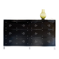 Worlds Away - Worlds Away Studly Dresser in Black Lacquer., Black - Worlds Away Studly Dresser in Black Lacquer.