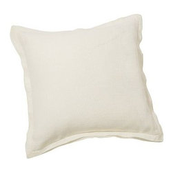 "Linen with Silk Trim Pillow Cover 20"" sq., Ivory - Made of a refined linen blend with a silky flange, our cover is equal parts luxurious and casual. 20"" square Made of linen with a silk flange. Zipper closure. Insert sold separately; down blend or synthetic. Dry-clean only. Imported."