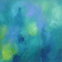"""""""Turquoise Clouds 8 (Framed)"""" (Original) By Roberta Aviram - I Love These Colors And Especially When They Are Combined With Texture. This Is Part Of My Turquoise Clouds Abstract Series But I Added A Few More Colors To Make It A Little More Exciting. I Am Influenced By The Impressionists And Love Feathery Brushstrokes And The Energy They Portray. This Piece Is Framed In A Modern Natural Wood Floater Frame That Adds 1.5 Inches To The Measurement All Around."""