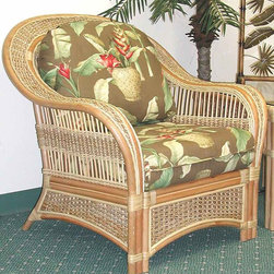 Spice Island Wicker - Armchair with Cushion (Antique Floral) - Fabric: Antique FloralEnjoy casual relaxed styling matched with deep seated comfort in this woven rattan lounge chair.  The tropical styling is inviting with a contoured rounded back and graceful sloped arms.  Sumptuous seat and back cushions are richly padded and very comfortable.  Sturdy rattan frame with decorative woven inserts has a warm, natural finish.  With an exquisitely beautiful and tastefully simple natural finish on a masterfully formed wicker frame, this fine wicker armchair is unrivalled in the world of aesthetically appealing furniture. * Solid Wicker Construction. Natural Finish. For indoor, or covered patio use only. Includes cushion. 37.5 in. W x 36 in. D x 36.5 in. H