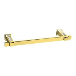 Windisch - Gold 23 Inch Towel Bar With White Crystals - Elegant 22.8 inch wall mounted squared rectangular bathroom towel bar.