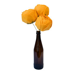 """Bagsy Blue Co. - Set Of 3 Felt Roses, Fabric Flowers, Gold, 20"""" Tall - These flowers are awesome and look perfect in a chunky jar with either long or regular length stems."""