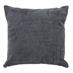 Benzara - Decorative Pillow in Solid Grey Color with Durability and Comfort - This classy fabric pillow is a lovely pick for your home. The 100% cotton fabric is sure to let you easily maintain and wash it. This plush fabric with a high thread count has a solid grey color and pattern with slender words printed on it. The fabric offers great relaxing comfort with its smooth texture and great material. It is designed to match all modern interiors and will lend a new and rich appeal to your living space. Get set to impress your guests all the way.