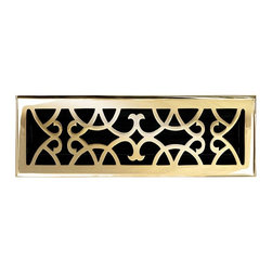 """Brass Elegans 120F PLB Brass Decorative Floor Register Vent Cover - Victorian Sc - This polished brass finish solid brass floor register heat vent cover with a victorian scroll design fits 4"""" x 14"""" x 2"""" duct openings and adds the perfect accent to your home decor."""