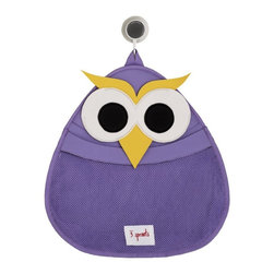 3 Sprouts - 3 Sprouts Bath Storage, Owl - Our 3 Sprouts purple bath storage in cue owl pattern is the perfect spot for all your little one's bath stuff. Made of the same mildew resistant material used for wetsuits, our bath storage keeps toys dry and your tub organized. The stretchy wide mouth makes grabbing those gotta find it now' toys a snap. Best of all, we've included an easy to adhere, slip-proof suction cup which holds on tight to any tile or glass surface.