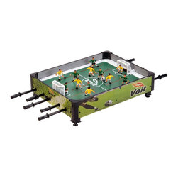 "Voit Products - Voit Table Top Rod Soccer Game Table - Leg levelers. 5 Players and 1 Goalie per team. 5 Black ABS rods. Manual Scorer. 2 Soccer balls. 2 goals. Warranty: 90 days limited. Made from wood, steel and plastic. Colored graphics. No assembly required. 33 in. W x 24.5 in. D x 8.5 in. H (22 lbs.)Voit 33 in. Table Top Rod Soccer Game is the newest addition to the Voit family of table and table top games. A new ""spin"" on the classic rod hockey game the table top rod soccer game has all the action of full size arcade table!"