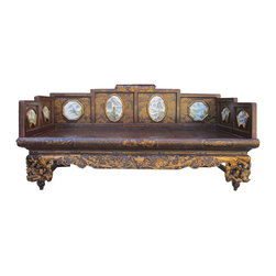Golden Lotus - Chinese Golden Carving Lohon Daybed Large Bench - Look at this Chinese antique day bed which is made of solid elm wood.  Its front legs have very detail gold flower and bird hand carving, the seat top is made of bamboo, and especially the back and sides have marble landscape inlay on it.  It can be used as day bed for a snap or decorate your living room now.
