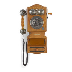 Crosley - Crosley CR92-OA Country Kitchen Wall Phone-Oak - This colonial style country kitchen phone is an authentic reproduction of early American heritage. While this beautiful recreation is designed to provide extremely high-quality communications, it has all the charm of the faithful original. Originally introduced in the early 1920's, this classic features a crank handle that actually turns.