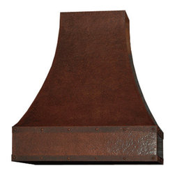 """myCustomMade - Custom Copper Range Hood """"Pasadena"""", Natural Fired, 36"""", Wall Mount - Custom design makes this custom copper range hood a great addition to the kitchen. Customize the modern copper hood by choosing natural fired, coffee, honey or antique finishing. """"Pasadena"""" style is produced as 30, 36 or 48 inches wide. Its depth is 22"""", height 36"""" and it takes about thirty days to deliver. Once purchased specify the hood 220000027 version as wall mount or kitchen island. Enjoy free delivery."""