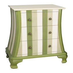 Sterling Industries - Sterling Industries Chest of Drawers - The curvilinear shape and simple styling of this Sterling Industries chest of drawers helps to give it a versatile but unique look. The body is highlighted by vertical stripes in sage, green and cream. The three drawers are finished with pewter knobs and a cream top pulls the look together.
