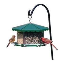Homestead - Triple Bin Party Feeder - Triple Bin Party Feeder. Feature Packed. Large removable 3-compartment acrylic bin hold up to 11 1/2 lbs of seed. Holds up to 3 types of feed to attract different species of birds. Birds can see the seed.