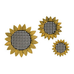 Imax Worldwide Home - Sunflowers Wall Decor - Set of 3 - Set of 3. Material: 100% Wrought Iron. . 3.5 in. Diam., 18 in. Diam., and 25 in. Diam. Weight: 6.9 lbs.Perfect for your indoor garden space or country kitchen with the Sunflower Tray Wall Decor featuring a distinctive sunflower shape. This beautiful design will soon become a favorite part of your decor.