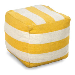 Lemon Stripe Pouf - Sunny white and yellow stripes warm up your space with both a hint of cheerful color and a pattern that provides comfortable chic with its simplicity.  The wide bands of color on the Lemon Stripe Pouf provide a geometry to complement the unadorned, soft-cornered cube of this furnishing, while its 100% cotton upholstery offers a durable surface.