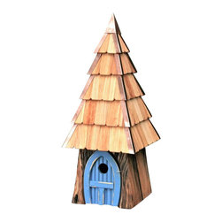 Heartwood - Lord of the Wing Bird House Blue - Ah,  the  songs  you'll  hear,  the  tales  you'll  tell  with  this  magical  home  that  doesn't  seem  constructed  so  much  as  conjured.  Bark-like  rustic  scored  exterior  is  captivatingly  quaint,  topped  with  a  shingled  roof.  Dazzling  door  offers  a  choice  of  brilliantly  bright  hues:  Blue,  Yellow,  Moss  Green  and  Redwood.  Old  fashioned  in  all  the  best  ways,  including  quality  hand-craftsmanship  rare  in  a  mass-produced  modern  world.  Lord  of  the  Wing  means  years  of  hobbit-ual  birding  pleasure  ahead.                  9x9x23              1-1/2  hole              Available  in  redwood,  yellow,  natural,  blue  and  moss  green              Handcrafted  in  USA  from  renewable,  FSC  certified  wood