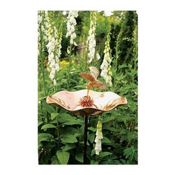 Achla - Hummingbird Bird Bath - Includes Roman bronze stake. Brass casting. 90 days warranty. Made from copper. Made in India. No assembly required. 13.25 in. Dia. x 7 in. H (4 lbs.)
