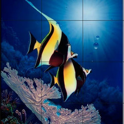 The Tile Mural Store (USA) - Tile Mural - Coral Cove - Crl - Kitchen Backsplash Ideas - This beautiful artwork by Christian Riese Lassen has been digitally reproduced for tiles and depicts two gorgeous moorish idol fish.  This tile mural featuring fish and sea life would be perfect as a part of your kitchen backsplash tile project or your tub and shower surround bathroom tile project. Images of tropical fish on tile make a fantastic kitchen backsplash idea and are great to use in the bathroom too for your shower tile project.