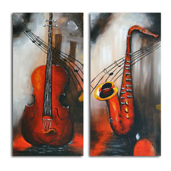 """Omax Decor - Take Notes Hand painted 2 Piece Canvas Set - Overall size: 48"""" x 48"""" (48"""" x 24"""" x 2 pc). Enjoy a 100% Hand Painted Wall Art made with acrylic paints on canvas stretched over a 1.5"""" thick wooden frame. The painting is professionally hand-stretched and ready to hang out of the box. With each purchase of our art you receive a one of a kind piece due to the handcrafted nature of the product."""