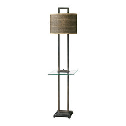 Rustic Bronze Rattan Shade End Table Lamp - *Rustic bronze metal with burnished edges, black marble foot and a tempered, rectangle glass tray.
