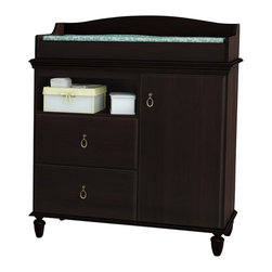 South Shore - South Shore Moonlight Changing Table in Dark Mahogany - South Shore - Baby Changing Tables - 3716332 - This Moonlight Dark Mahogany changing table provides a harmonious blend of meticulously crafted details that help create a thoroughly pleasing environment for your baby. When your child is older you can remove the changing station section and convert it into a handsome chest that you will enjoy using for years to come. It is also just the right height to keep your baby within arms reach at all times. Its finely worked wooden legs classic lines and antique brass finish metal handles create a cozy yet stylish look thats perfect for a babys room. It features 3 storage spaces behind the door divided by 2 adjustable shelves 2 drawers equipped with metal slides and 1 open storage space.