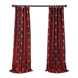 """Exclusive Fabrics & Furnishings - Trophy Syrah Embroidered Faux Silk Taffeta Curtain - SOLD PER PANEL . 51% Polyester 49% Nylon   Lined . 3"""" Pole Pocket with Hook Belt . Base Fabric- Burgundy  Pattern- Beige .Weighted Hem   Dry Clean Only ."""
