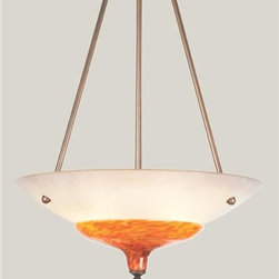 """Lightspann - Alsace Blown Glass Chandelier - With classic style and updated design, this chandelier features a blown glass funnel that is attached to a slumped, frosted bowl, and finished off with a Gold Soleil Ribbed Ball.      Finishes Shown:  Image 1 - Funnel: Lava, Bowl: Frosted, Hardware: Brushed Nickel  Image 2 - Funnel: Tigers Eye, Bowl: Frosted, Hardware: Statuary Bronze       Available sizes:  X-Small: 10"""" High x 18""""  Diameter $2,990  Small: 11"""" High x 22""""  Diameter $3,495  Medium: 12"""" High x 24""""  Diameter $3,950  Large: 12"""" High x 30""""  Diameter $4,450  X-Large: 13"""" High x 36""""  Diameter $4,895         This fixture accepts three candelabra base 60 watt bulbs, is UL listed and connects to a standard electrical junction box.        Glass Options for Bowl  (image 3)  Frosted (shown)   Painted Colors: Cream, Cream Tinted, Sienna, Sienna Tinted, Parchment, Parchment Tinted, Terra Cotta, Terra Cotta Tinted    """" Upcharge for painted colors: $158 for X-Small, $175 for Small, $192 for Medium, $217 for Large, $250 for X-Large. ;       Glass Options for Funnel (image 4 & 5)   Standard Blown Glass: Tigers Eye, Lava, Latte, Blue Cararra, Lace, Clear, Foam, Gold Soleil, Gold Ruby, Frosted, Aurora Gold   Premium Blown Glass: Vesuvio, Casbah, Starlight, Sea Tide, Wisp, Venetian Cream, Venetian  """" Upcharge for premium blown glass: $108 for X-Small, $125 for Small, $167 for Medium, $250 for Large, $417 for X-Large.  Glass Options for Bauble (image 4 &5)   Standard Blown Glass: Tigers Eye, Lava, Latte, Blue Cararra, Lace, Clear, Foam, Gold Solel, Gold Ruby, Aurora Gold   Premium Blown Glass:  Vesuvio, Casbah, Starlight, Sea Tide, Wisp, Venetian Cream, Venetian.  $42 upcharge for premium blown glass.  Optional Lip Wrap on Funnel Bowl  (image 6)  Clear, Cherry Red, Irridized Gold, Cobalt Blue, Pistachio Green, or Ruby Red.      Hardware Finishes    Standard Metallic Metal Finishes (image 7): Copper Leaf, Flat Bronze, Matte Black, Metallic Beige Silver, Seaside Silver, Statuary B"""