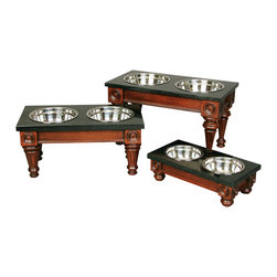 Unleashed Life - Hudson - Medium  Feeder - Steeped in traditional design, the classic Hudson Pet Dining Table works great in so many lifestyles. A rich Mahogany finish accents the molding and carving details. Your pet will dine in style atop the luxurious black granite dining surface.