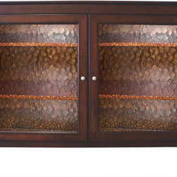 """Carmel TV Lift Cabinet For Flat Screen TV's Up To 55"""" - The Carmel TV Lift cabinet features crisp lines and a rich espresso finish just like our Monterey TV lift cabinet. This model features beautiful wavy glass on the front facing door panels making it a versatile entertainment center which compliments a variety of decorating tastes."""