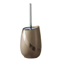 Gedy - Round Moka or Beige Pottery Toilet Brush Holder, Moka - Decorative, unique beige or moka pottery free standing toilet brush holder. Toilet brush holder made of pottery. Rounded design in moka or beige finish. From the Gedy Stone collection.