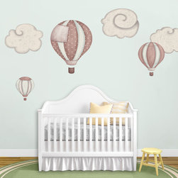 My Wonderful Walls - Hot Air Balloons and Cloud Wall Stickers, Blush - 3 hot air balloons & 3 cloud wall stickers