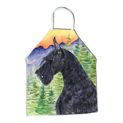 Caroline's Treasures - Schnauzer Apron SS8256APRON - Apron, Bib Style, 27 in H x 31 in W; 100 percent  Ultra Spun Poly, White, braided nylon tie straps, sewn cloth neckband. These bib style aprons are not just for cooking - they are also great for cleaning, gardening, art projects, and other activities, too!