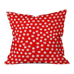 DENY Designs - Rebecca Allen The Lady Of Shalott Red Outdoor Throw Pillow - Do you hear that noise? it's your outdoor area begging for a facelift and what better way to turn up the chic than with our outdoor throw pillow collection? Made from water and mildew proof woven polyester, our indoor/outdoor throw pillow is the perfect way to add some vibrance and character to your boring outdoor furniture while giving the rain a run for its money. Custom printed in the USA for every order.