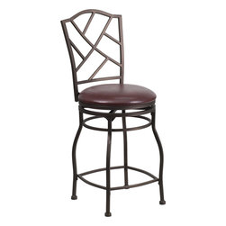 "Flash Furniture - 24"" Brown Metal Counter Height Stool with Brown Leather Swivel Seat - This gracefully styled stool will add an elegant finish to your kitchen, dining room or bar area. The curvaceous frame and attractive powder coated finish will complement any decor. The plush padded seat looks and feels great. A full 360 degree swivel and footrest ring provides comfort and ease."