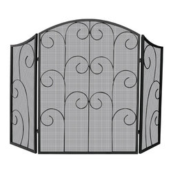 Uniflame - Three Panel Black Iron Fireplace Screen With - This screen is crafted of iron: the perfect complement to a roaring fire.  A striking yet simple accent can change the mood of an entire room.  This fireplace screen makes a unique addition to both wood and gas fireplaces.  This fireplace screen has a gracefully curved face that is intriguing.  It is the perfect screen to add to beauty and functionality. * Stylish Screen is Functional and Attractive. Maintains Fireplace Safety. Allows For Ease and Comfort with Fireplace Maintenance. 52 in. W x 35 in. H
