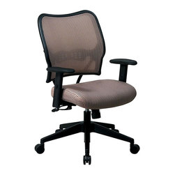 Space Seating - Deluxe Office Chair w Adjustable Arms, VeraFl - Made of VeraFlex /Nylon. Breathable VeraFlex Back and VeraFlex Fabric Seat with Built-in Lumbar Support. One Touch Pneumatic Seat Height Adjustment. 2-to-1 Synchro Tilt Control with Adjustable Tilt Tension. Height and Width Adjustable Arms with PU Pads. Heavy Duty Angled Nylon Base with Oversized Dual Wheel Carpet Casters. Some assembly required. Back Dimension: 20 in. W x 20.5 in. H. Seat Dimension: 20 in. W x 20 in. D x 3.25 in. T. Overall Dimension: 27 in. W x 26.5 in. L x 40 in. H