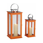 Rachael Tall Orange Lantern Candleholders, Set of 2 - It would be so fun to add these orange lanterns to a patio, deck, porch or balcony. You could even use them indoors.