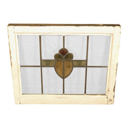 Antiques - Antique English Lead Glazed Stained Glass Window - This is a beautiful antique English lead glazed stained glass window. It has a traditional wooden frame and it features a beautiful *astragal lead glazed textured stained glass window with a distinguished design. One of the glass panels is cracked but it can be replaced if necessary otherwise it may show minor age appropriate signs of wear including wood imperfectionsbut as shown it is overall in very good cosmetic and structural condition.What is astragal (wood or lead) glazing?  As it pertains to later period furniture, it is a method of securing glass to the straight, semi-circular, or shaped moldings found on glass doors and windows of furniture. On newer reproduction furniture, the astragal molding may set atop the glass to give the appearance of glazing where on older English furniture, it is not uncommon for each piece of glass to be cut to shape and glazed into the molding.Other Dimensions (In inches)Glass 15.25H x 20.5WFrame 1.5W