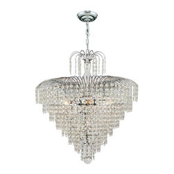 "Worldwide Lighting - Empire 7 Light Chrome Finish and Clear Crystal Chandelier 20"" D x 24"" H Medium - This stunning 7-light crystal chandelier only uses the best quality material and workmanship ensuring a beautiful heirloom quality piece. Featuring a radiant chrome finish and finely cut premium grade crystals with a lead content of 30%, this elegant chandelier will give any room sparkle and glamour. Worldwide Lighting Corporation is a privately owned manufacturer of high quality crystal chandeliers, pendants, surface mounts, sconces and custom decorative lighting products for the residential, hospitality and commercial building markets. Our high quality crystals meet all standards of perfection, possessing lead oxide of 30% that is above industry standards and can be seen in prestigious homes, hotels, restaurants, casinos, and churches across the country. Our mission is to enhance your lighting needs with exceptional quality fixtures at a reasonable price."