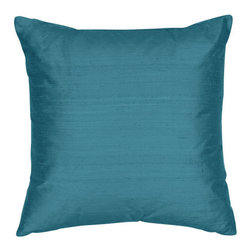 The Silk Group - July Blue 18x18-Inch Silk Shantung Square Poly Insert Decorative Pillow - - Handcrafted in the USA these decorative pillows are ideal for adding that special finishing touch to any space. Available in over 100 colors several of them can be combined for a grouping of complementary colors or contrasting shades. They feature 100% Grade A Silk Shantung the finest highest quality most exquisite silk fabric on the market. A high quality knit backing is permanently bonded to the back of the fabrics used in our pillows. The knit backing adds body increased stability and longevity to the pillow. An invisible color-coordinated zipper is discretely placed on the bottom edge of the pillow so both faces of the pillow are able to be displayed. The pillow inserts we use are over-sized so our pillows will always have that desirable high soft and fluffy appearance. Our pillows are available without the insert too if you prefer to use your own. The fabric face has been treated with the most durable and permanent stain moisture and UV repellants available. This provides long lasting protection from water alcohol and oil-based stains as well as resistance from fading and discoloring over time.  - Fill Material: Down  - Dry Clean Only The Silk Group - SQ_Shant_Sol_July_Blue_18x18_Poly