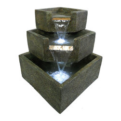 Smart Solar - Cascadia Falls Electric Corner Fountain with LED's - 3-Tier corner step cascading fountain. Durable and lightweight resin construction. Includes LED lights for night time illumination. Powered by an Infinity magnetic drive pump. Constantly recycles water from a hidden reservoir. Creates a relaxing atmosphere on your patio, deck, balcony or in the garden. Easy to install and enjoy. Energy efficient pump for low operating costs. UL listed.