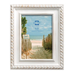 """Origin Crafts - Eastport white wash picture frame (8x10) - Eastport White Wash Picture Frame (8x10) Natural pine wood, hand distressed finish, roped border accent, two-way easel, wall hangers. (holds 8x10"""" photos) By Prinz - Prinz is a leading supplier of picture frames. At Prinz they are committed to offering unsurpassed design, quality, and value. Ships within five business days."""