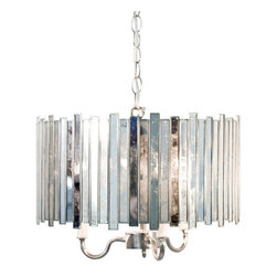 Worlds Away - Worlds Away Faceted Antique Mirror Chandelier Pendant - Antique mirror faceted pendant with 3-light 40w candle cluster. Comes with 3' chrome chain and canopy.