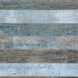 Brushed Wood Wallpaper, Blue & Brown