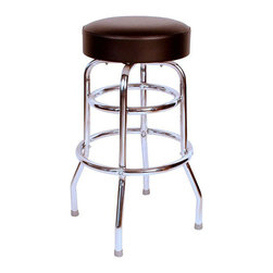 "Richardson Seating - Richardson Seating Retro 1950s 30"" Backless Swivel Bar Stool with Black Seat - Richardson Seating - Bar Stools - 1952BLK - Richardson Seating Floridian's Floridian collection ships within 2 business days as quick ship items. The 50's retro look bar stool collection is back with added comfort and stylish design. The Floridian collection are commercial bar stools made in the USA and equally ideal for residential use."