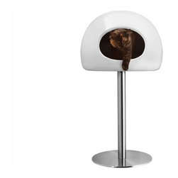Lollipop Cat Condo, White - Created by London-based designer Onur Ozkaya, this beautiful cat pod will greatly enhance the look of any modern home. The Lollipop is handcrafted with fiberglass rested upon a sturdy 33 lb. stainless steel base. The base is removable if a floor bed is preferred. The interior contains a high quality foam-filed cushion in a water-proof, washable fabric cover.