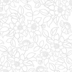Wallpaper Worldwide - Carly - Retro Floral Wallpaper, Grey, White - Material: PVC