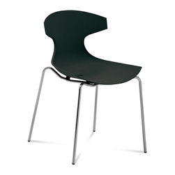 DomItalia Furniture - Echo Stackable Chair in Black (Set of 2) - Durable shell made from fiberglass polypropylene of this wonderful Echo Stackable Chair in Black (Set of 2) is suitable for indoor/outdoor use. Features lacquered steel frame and enriched fiberglass polypropylene shell in Black color.